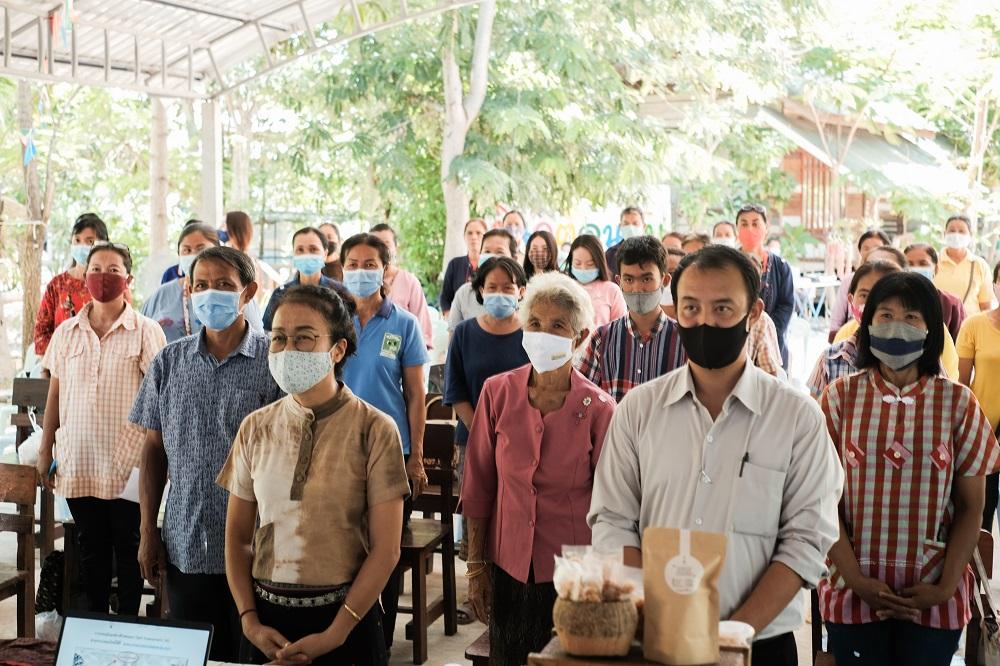 """ภาพบรรยากาศการจัดอบรมหลักสูตร """"การยกระดับมาตรฐานสินค้าเกษตรและผลิตภัณฑ์ชุมชน"""" ณ ศูนย์การเรียนรู้สมาคมไทบ้าน อ. วาปีปทุม จ. มหาสารคาม วันเสาร์ที่ 13 มิถุนายน 2563"""